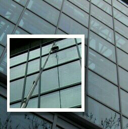 High reach commercial window cleaning